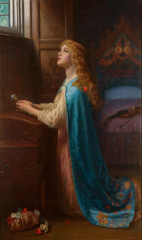 Arthur Hughes (British 1832-1915) Forget me not 108 x 64 cm. (42 1/2 x 25 1/4 in.)