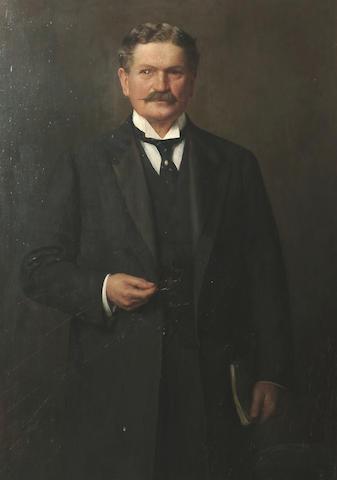 Charles Wynn Ellis (British, fl.1880-1904) Portrait of a gentleman three quarter length, standing, 127 x 92 cm (50 x 36 1/8 in)