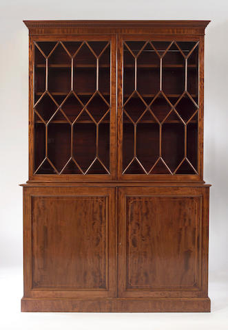 A 19th Century George III style mahogany and boxwood strung cabinet Bookcase,