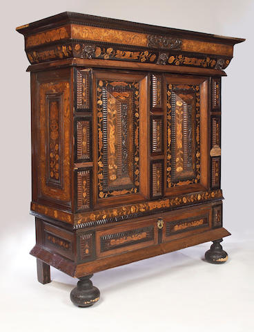 An 18th Century Dutch walnut and rosewood marquetry inlaid Press Cupboard on stand,