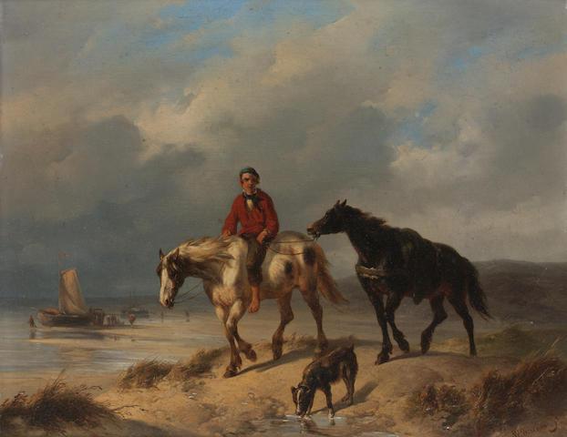 Wouter Verschuur (Dutch 1812-1874) Returning from the beach 24.5 x 31.5 cm. (9 3/4 x 12 1/4 in.)