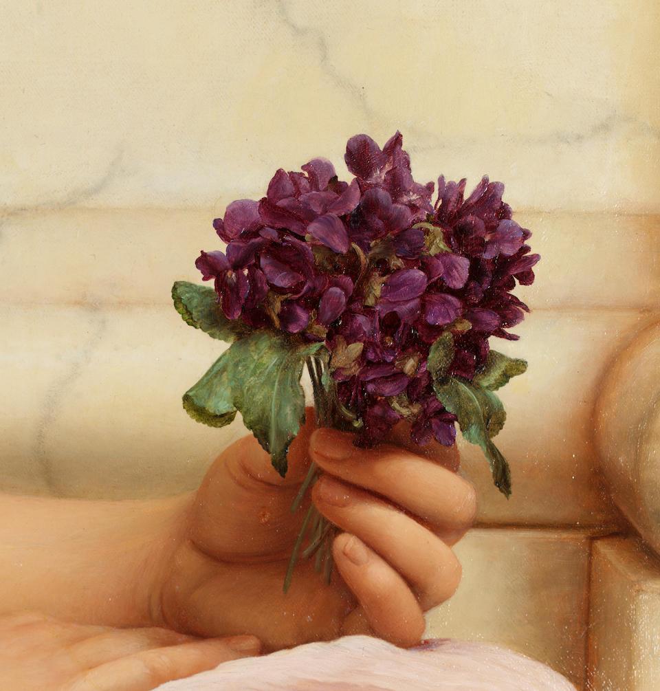 John William Godward, RBA  (British 1861-1922) Violets, sweet violets 92 cm. (36 1/4 in.) diameter