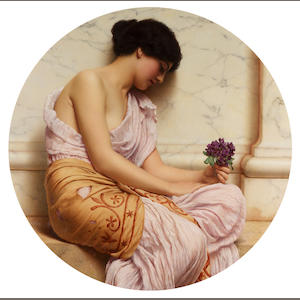 John William Godward, RBA  (British 1861-1922) Violets, sweet violets tondo, 92 cm. (36 1/4 in.)