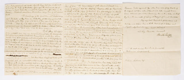 A letter from Nelson to William Senhouse (ancestor of vendor) dated 1786, in Barbados, with referenc