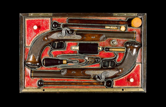 A Fine Cased Pair Of French 40-Bore Percussion Duelling Or Target Pistols Formerly Belonging To Jame