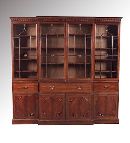 A George III style mahogany breakfront Library Bookcase,