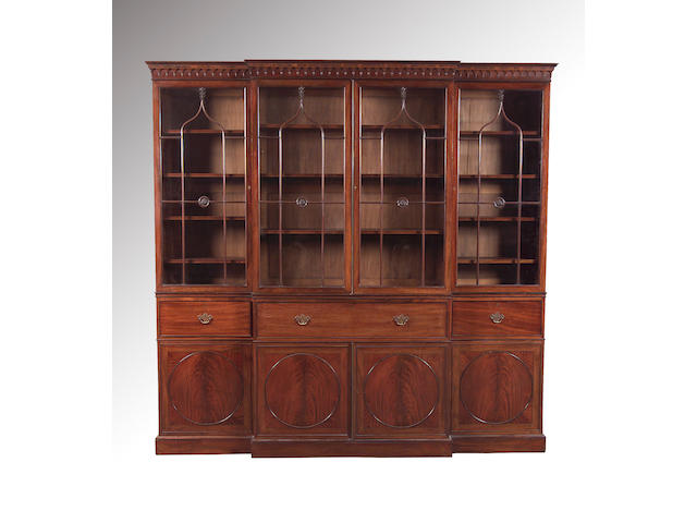 A George III style mahogany breakfront Library Bookcase,circa 1900