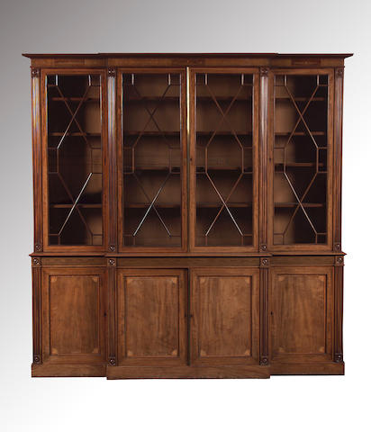 A 19th Century George III style mahogany and satinwood crossbanded breakfront library Bookcase,