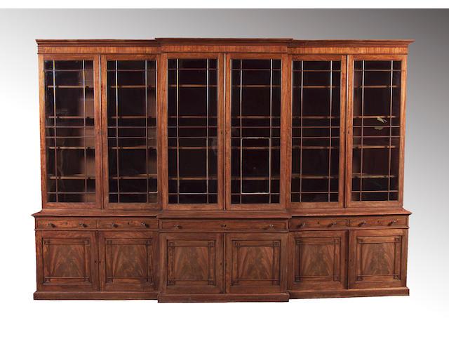 A fine Regency mahogany breakfront secretaire library Bookcase,