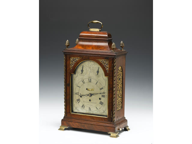 A late 18th century gilt brass mounted mahogany quarter chiming bracket clock Daniel Dickerson, Framlingham