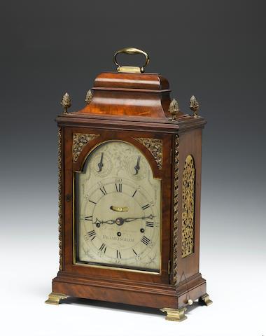 A late 18th century gilt brass mounted mahogany quarter chiming bracket clock Daniel Dickerson, Framlingham