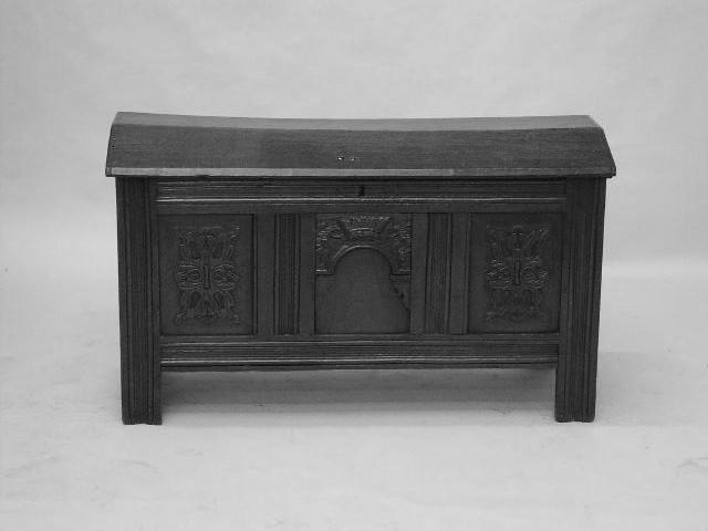 A late 17th Century domed oak coffer,