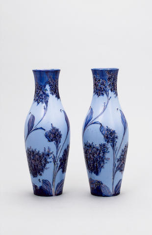 'Lilacs' A Pair of Florian Ware Vases