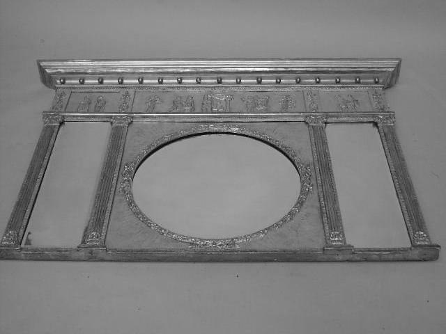 A 19th Century giltwood triple plate overmantel mirror,