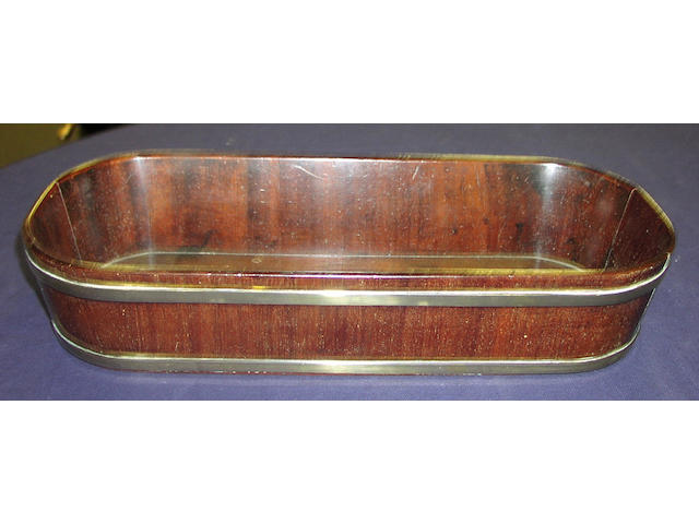 A George III mahogany and brass bound bread basket