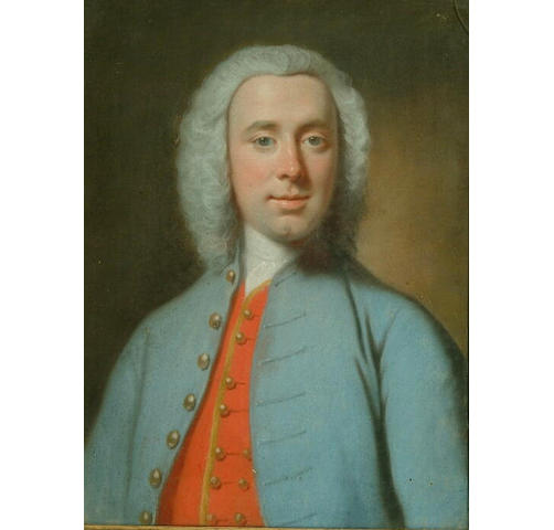 Attributed to Joseph Highmore (1692-1780) A portrait of a gentleman, head and shoulders, wearing a b
