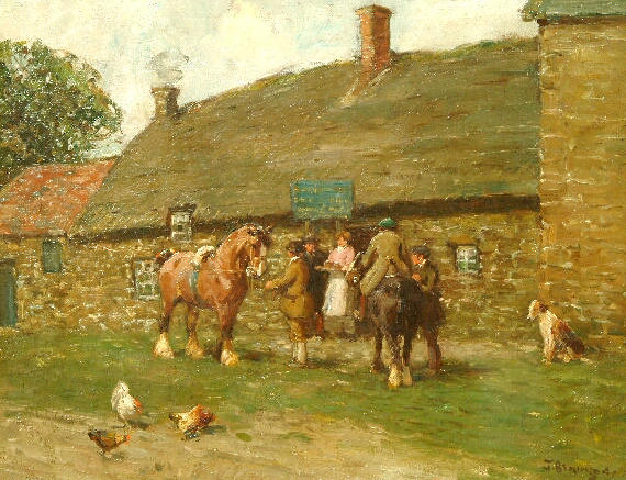 John Atkinson (1863-1924) Figures before a country inn 36 x 46cm.