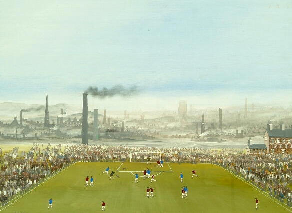 Brian Shields (Braaq) (1951-1997) A view of a football match with an extensive industrial landscape beyond 44 x 58.6cm.