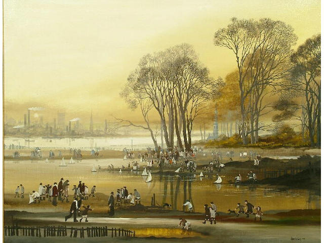 Brian Shields (Braaq) (1951-1997) View of a boating pond with figures 70 x 90cm.