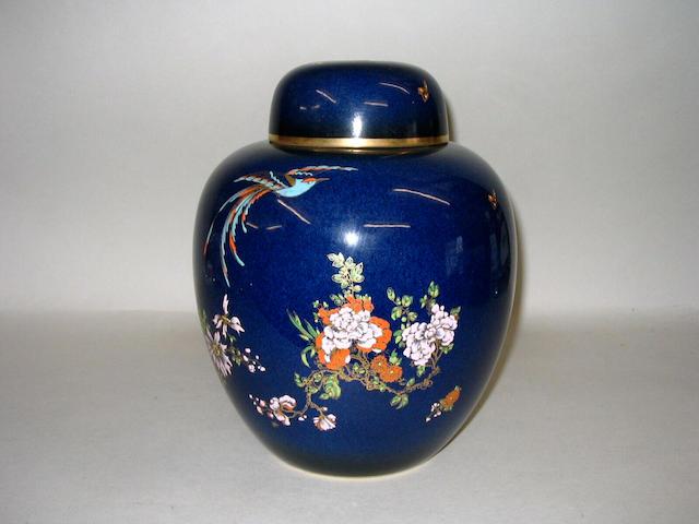 A Carlton Ware 'Bleu Royale' jar and cover,
