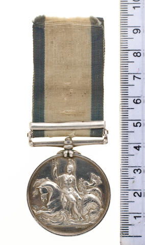 The historically important Naval General Service medal to Able Seaman William Saunders, who is purpo