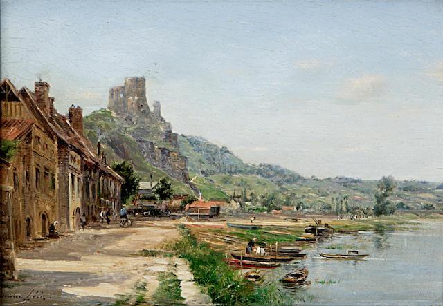 Maurice Lévis (French 1860-1940) La Seine au Petit Andely 15 x 22.5 cm. (6 1/2 x 10 in.)