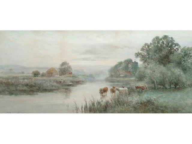 Henry John Kinnaird (British, exh 1880-1908), 'Thames near Wallingford', 24 x 54.5 cm.