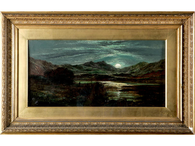 Charles Leslie (19thc) Moonlight by the loch 30 x 60cm