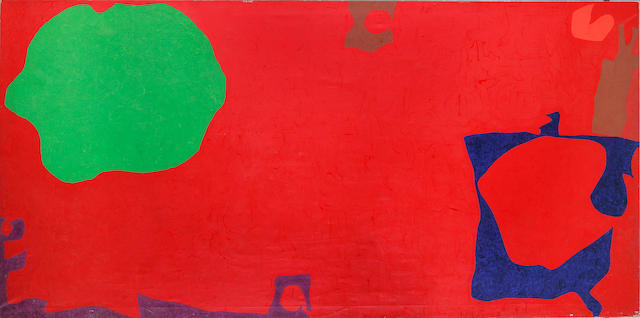 Patrick Heron (1920-1999) Emerald in Dark Red with Violet and Blue 198 x 396 cm. (78 x 156 in.) (unframed)