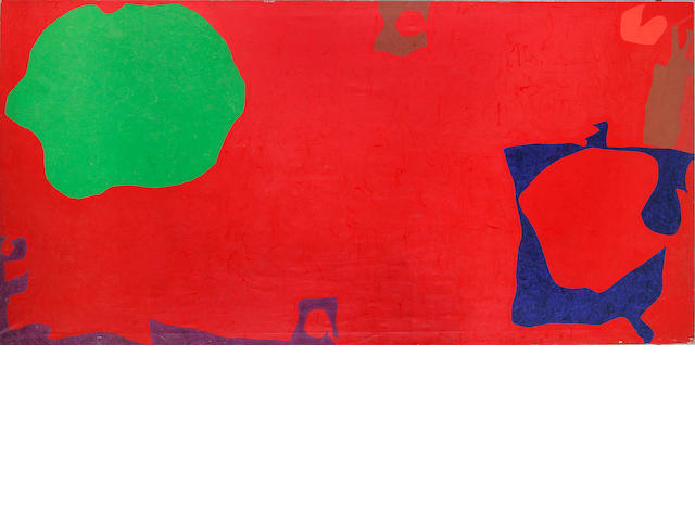 Patrick Heron (1920-1999) Emerald in Dark Red with Violet and Blue  198 x 396 cm. (78 x 156 in.) (un