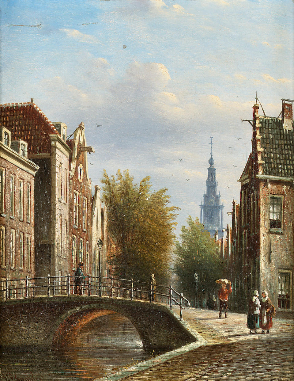 Johannes Franciscus Spohler (Dutch 1853-1894) Figures by a canal in Amsterdam with a view of the Zuiderkerk beyond; Figures in a Dutch street each 20 x 16.5 cm. (8 x 6 1/2 in.)
