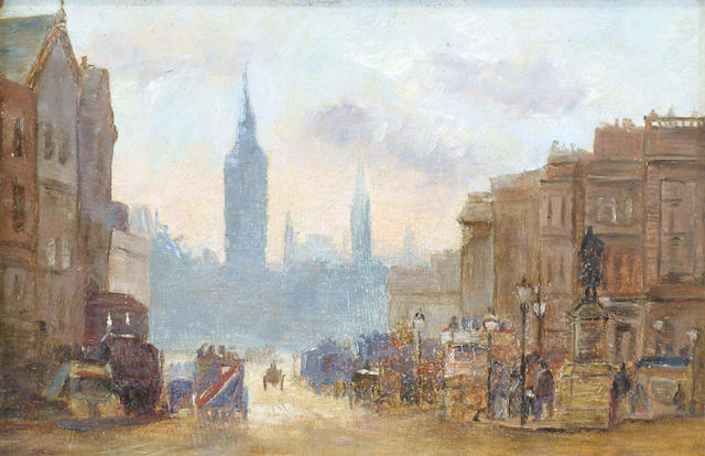 Attributed to George Henry Boughton (1833-1905) 'Northumberland Avenue looking towards Parliament Sq