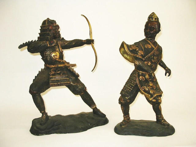 A pair of cast bronze figures of warriors,