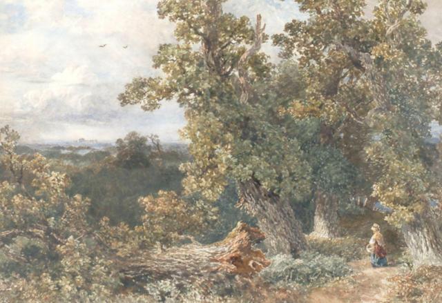 David Cox Junior (1809-1885) 'Woman in a wood near Windsor' 37 x 52cm