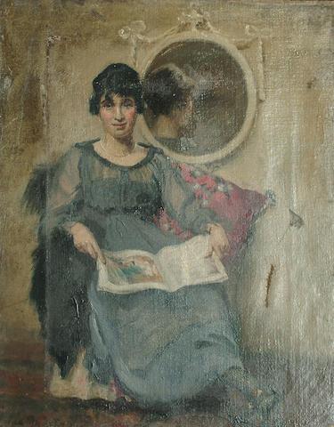 Ida Mostyn Portrait, full length, of a lady seated reading a magazine, a mirror beyond, 45.7 x 35.5cm (17/8 x 14in)