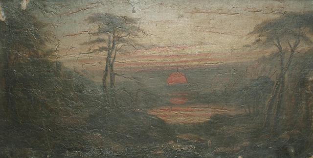 English School, 19th Century, Landscape at dusk, 17.5 x 34cm (6 7/8 x 13 7/8in)