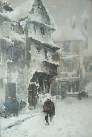 Frederick John Bartram Hiles (British, 1872-1927) Snow covered street with figure walking, 53 x 36cm (20 7/8 x 14 1/8in )