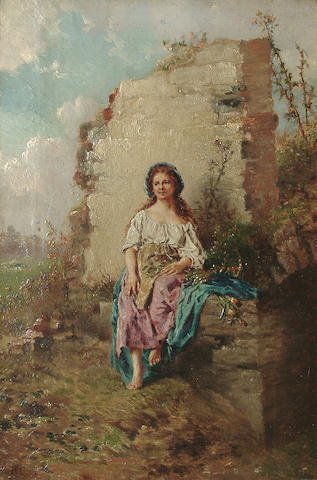 Attributed to Henry Campostoto Portrait of young woman in a country landscape with flowers on her lap, a ruined wall beyond, 35.8 x 24 cm(14 1/8 x 8in)