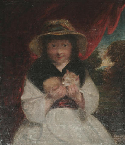 English School, 19th Century, After Sir Joshua Reynolds A girl with a kitten, 29 x 25 cm (11 3/8 x 9 7/8 in)