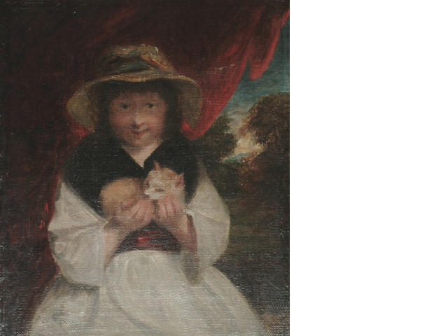 English School, 19th Century, After Sir Joshua Reynolds A girl with a kitten, 29 x 25 cm (11 3/8 x 9