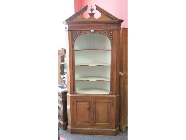 A 20th Century pine Standing Corner Cabinet,
