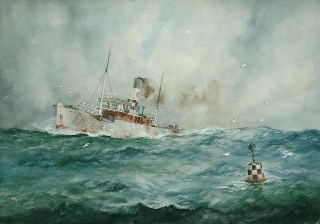 William Minshall Birchill (British, b.1884) A steamer in a heavy sea 25.4 x 36.5cm. (10 x 14 3/8in.)