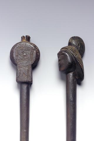 Two Ovimbundu staffs 57cm. 2