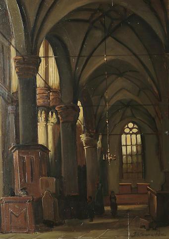 Dutch School, 20th Century An church interior, 38.5 x 28.2 cm (15 1/8 x 11 1/8 in)