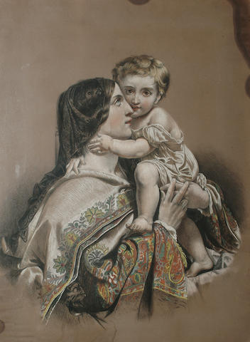 English School, Late 19th Century, Mother and child, 68 x 51cm (26 3/4 x 20in)
