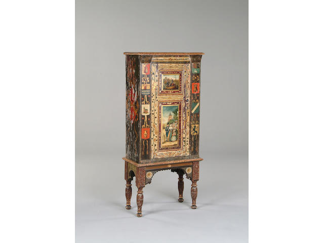 A 19th century Dutch painted cupboard on stand