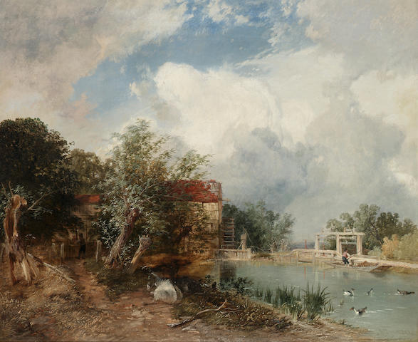 James Baker Pyne, R.B.A. (1800-1870) Paper mill in Berkshire 63.5 x 77 cm (25 x 30¼in).