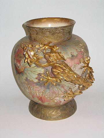 Burslem Items An Impressive Doulton Burslem Vase with Applied Dragon
