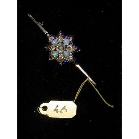 A late Victorian diamond, opal and enamel star brooch,