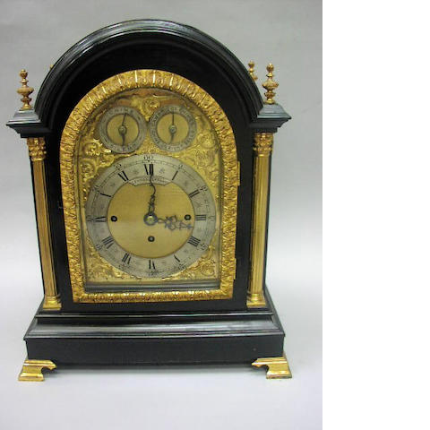 Lenton, Clapham, A Victorian ebonised and gilt metal mounted quarter chiming bracket clock,